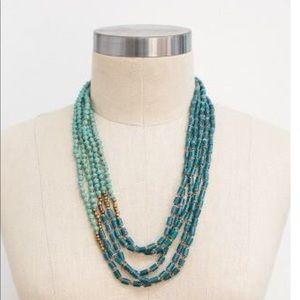 31 Bits Beaded Necklace, Teal/aqua